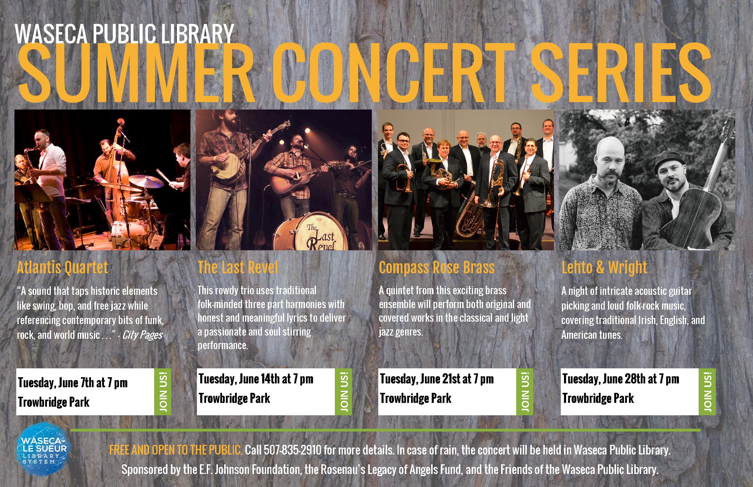 Announcing Waseca Public Library's 2016 Summer Concert Series!