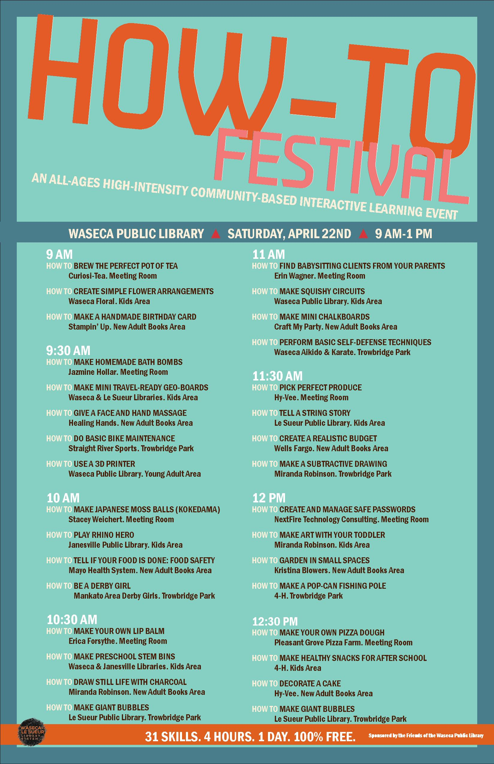 upcoming events how to festival waseca le sueur library
