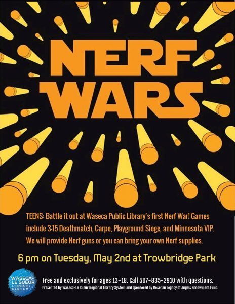 Battle it out at Waseca Public Library's first Nerf War! Games include 3-15  Deathmatch, Carpe, Playground Siege, and Minnesota VIP.