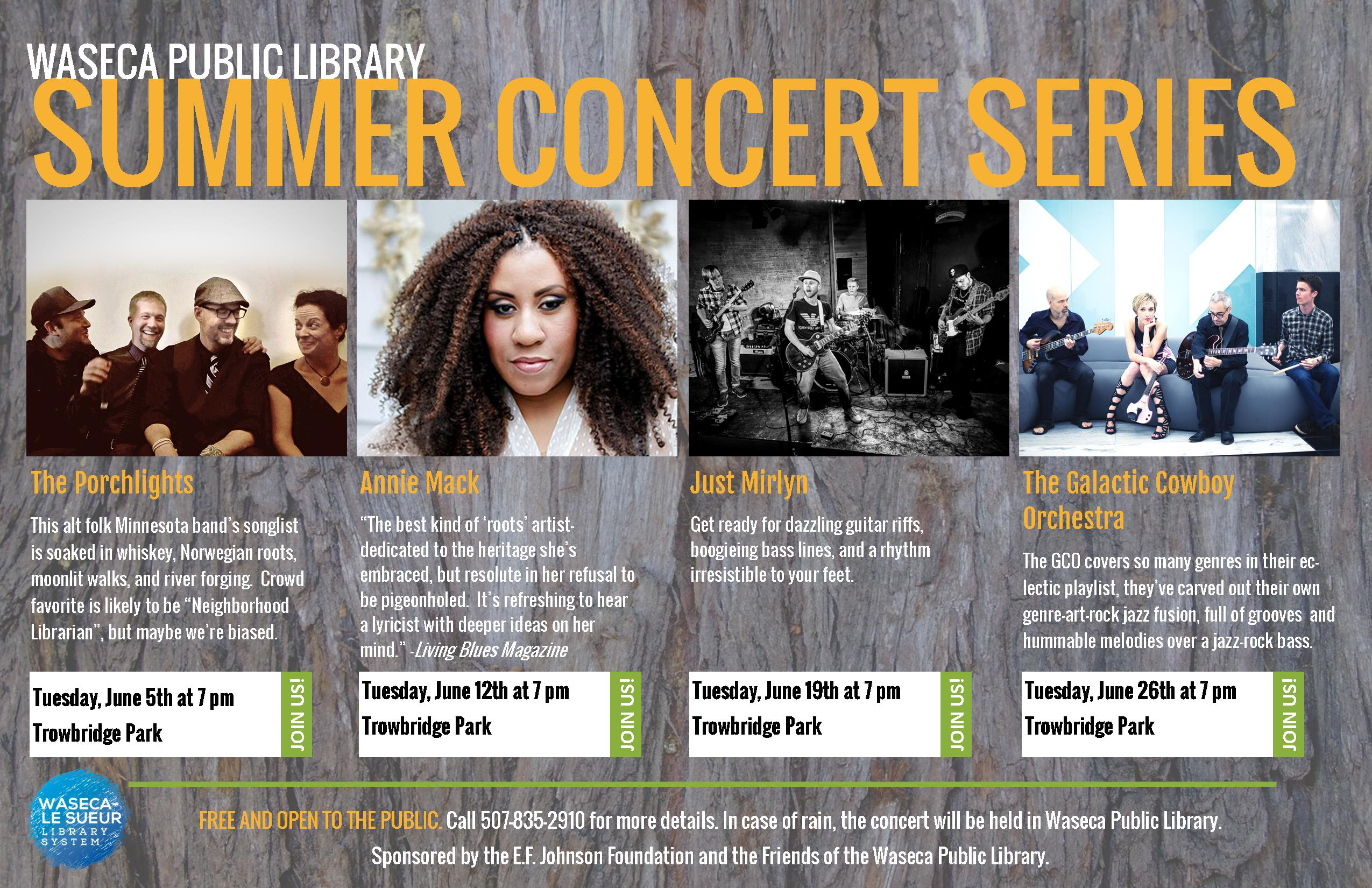 Announcing Waseca Public Library's Summer Concert Series!